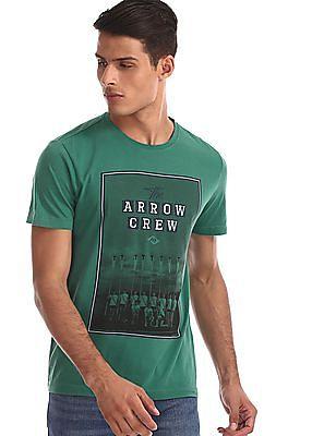 Arrow Sports Green Graphic Print Crew Neck T-Shirt