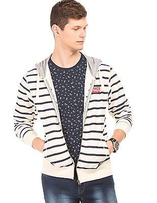 Flying Machine Striped Hooded Sweatshirt