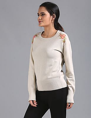 GAP Pullover With Multi Colour Embroidery On Shoulder