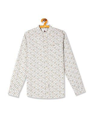 U.S. Polo Assn. Kids Boys Mandarin Collar Floral Print Shirt