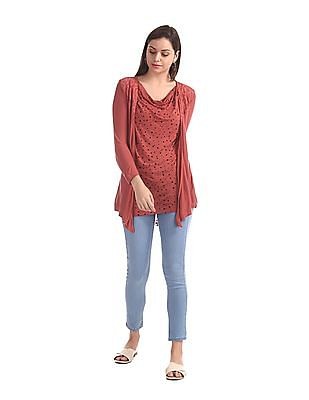 Elle Studio Red Cowl Neck Layered Top