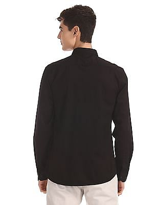 Ruggers Black Mitered Cuff Solid Shirt