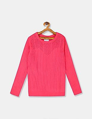 Cherokee Girls Pink Crew Neck Patterned Knit Sweater