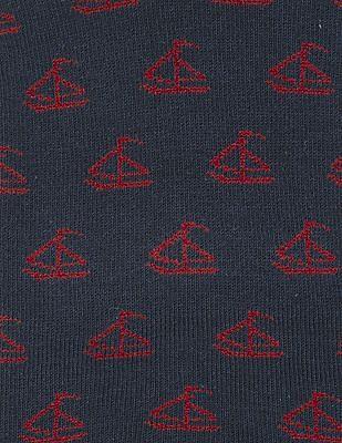 Flying Machine Sailboat Pattern Quarter Socks - Pack Of 2