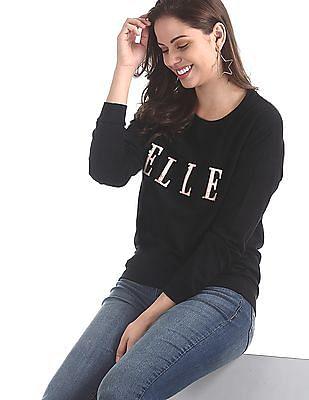 Elle Studio Black Crew Neck Cotton Sweatshirt