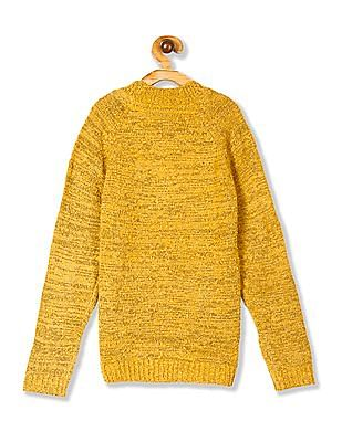 U.S. Polo Assn. Kids Yellow Girls High Neck Metallic Knit Sweater