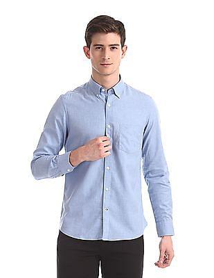 Arrow Sports Blue Slim Fit Patterned Shirt