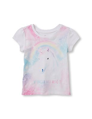 The Children's Place Toddler Girl Short Sleeve 'My Unicorn Made Me Do It' Glitter Graphic Tee
