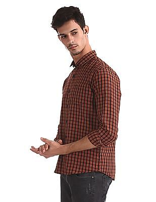Roots by Ruggers Orange Contemporary Regular Fit Cotton Shirt