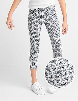 GAP Girls Grey Print Stretch Jersey Capris