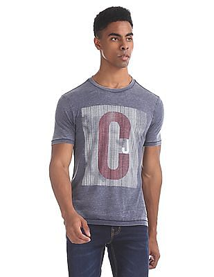 Cherokee Blue Ribbed Neck Brand Print T-Shirt