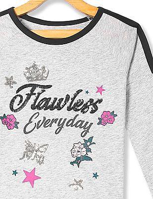 The Children's Place Grey Girls Raglan Sleeve Embellished T-Shirt