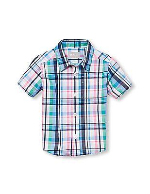 The Children's Place Boys Blue Short Sleeve Solid Poplin Button Down Shirt