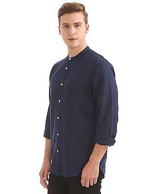 Arvind Slim Fit Mandarin Collar Shirt