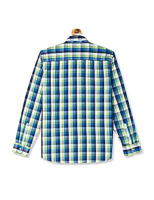 Flying Machine Multi Colour Mitered Cuff Check Shirt