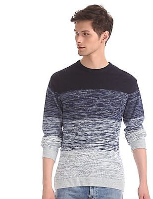 Flying Machine Blue Crew Neck Patterned Knit Sweater