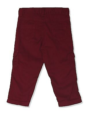 Donuts Red Boys Mid Waist Solid Cargos