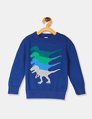 GAP Blue Toddler Boy Dinosaur Graphic Cotton Sweater