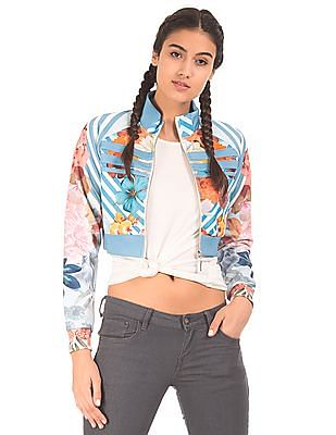 EdHardy Women Printed Cropped Sweatshirt
