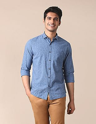 True Blue Slim Fit Handcrafted Shirt