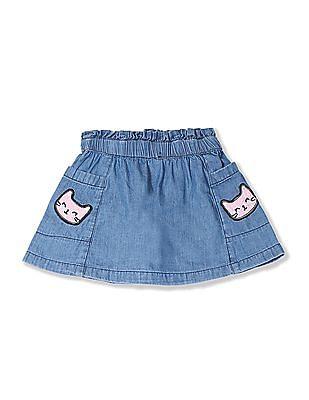 Donuts Blue Girls Applique Pocket Flared Skirt