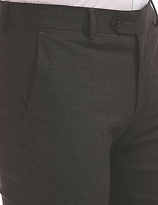 Arvind Regular Fit Textured Trousers