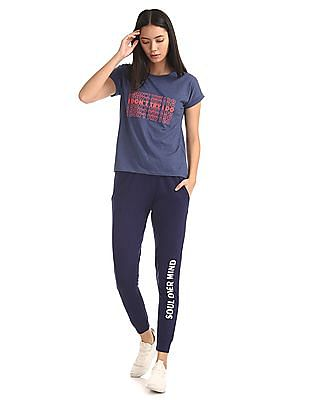 SUGR Blue Printed Leg Active Joggers