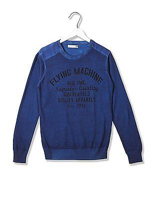 Flying Machine Washed Crew Neck Sweater