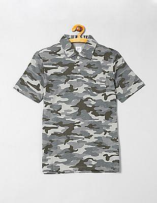 GAP Boys Jersey Camo Print Polo Shirt