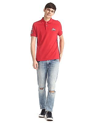 Aeropostale Red Side Tape Pique Polo Shirt