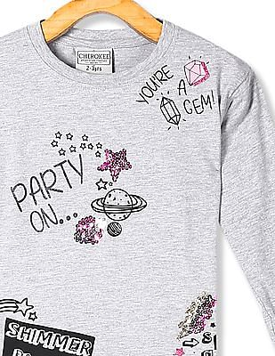 Cherokee Grey Girls Long Sleeve Embellished T-Shirt