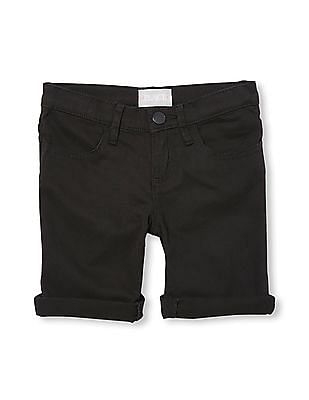 The Children's Place Girls Black Solid Woven Skimmer Shorts