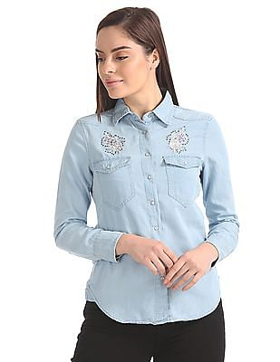 Aeropostale Regular Fit Chambray Shirt