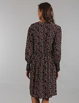GAP Women Black Print V-Neck Swing Dress