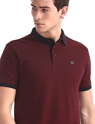 Ruggers Red Tipped Collar Solid Polo Shirt
