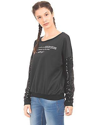EdHardy Women Sequin Sleeves Boxy Sweatshirt
