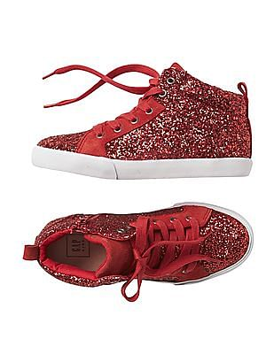 GAP Girls Red Glitter High Top Sneakers