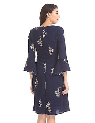 Elle Studio Bell Sleeve Fit And Flare Dress