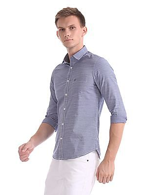 Arrow Sports Slim Fit Striped Weave Shirt