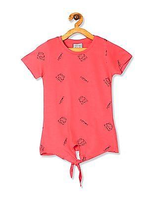 Cherokee Pink Girls Cat Print Tie Up Hem Top