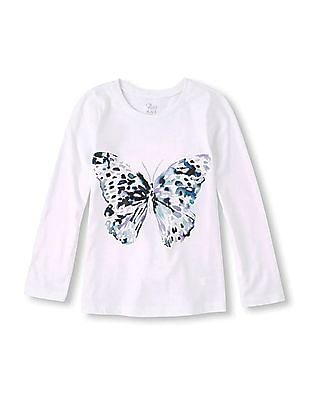The Children's Place Girls Long Sleeve Butterfly Print T-Shirt