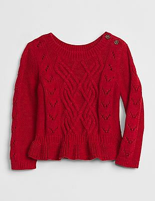 GAP Baby Cable-Knit Peplum Sweater