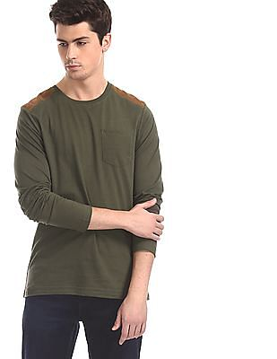 Cherokee Green Shoulder Panel Patch Pocket T-Shirt