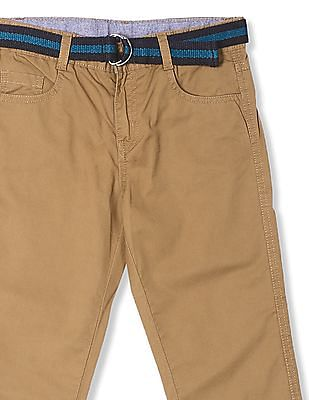Cherokee Brown Boys Flat Front Belted Trousers