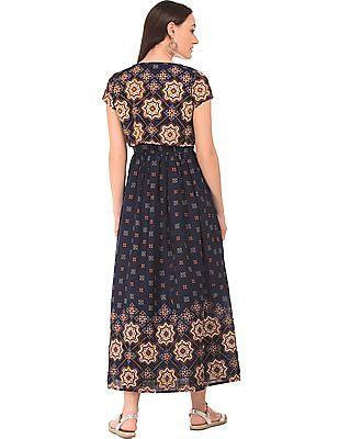 Bronz Printed Maxi Dress With Shrug