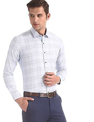 Arrow Newyork Blue Slim Fit Cutaway Collar Shirt