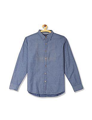 Flying Machine Regular Fit Patterned Weave Shirt