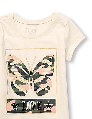 The Children's Place Toddler Girl Short Sleeve Camo Butterfly 'Love' Glitter Graphic Tee
