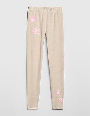 GAP Beige Girls Flippy Sequin Leggings In Stretch Jersey