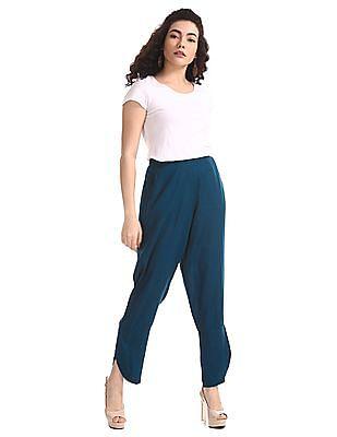 Bronz Blue Tulip Hem Dobby Pants